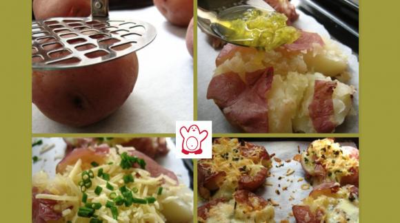 Patatas gratinadas al horno con queso y ajo