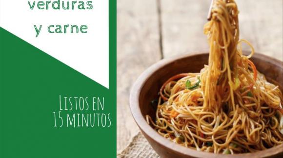 Noodles con verduras y carne en listos en 15 minutos